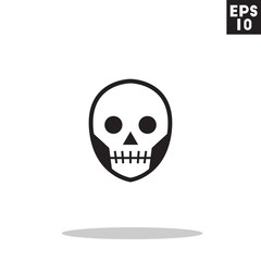 Skull monster face for halloween icon in trendy flat style isolated on grey background. Id card symbol for your design, logo, UI. Vector illustration, EPS10. Colored.
