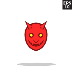 Devil monster face for halloween icon in trendy flat style isolated on grey background. Id card symbol for your design, logo, UI. Vector illustration, EPS10. Colored.