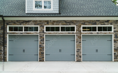 Residential House Car Garage Doors Stock Photo And Royalty Free