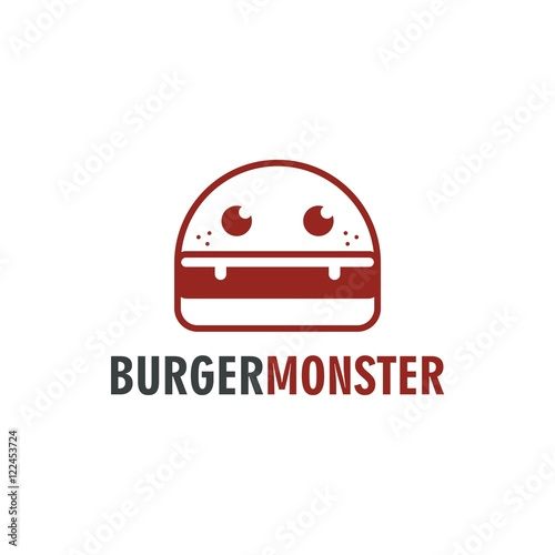 burger monster logo vector stock image and royalty free vector