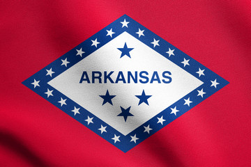 Flag of Arkansas waving with fabric texture