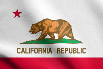 Flag of California waving with fabric texture
