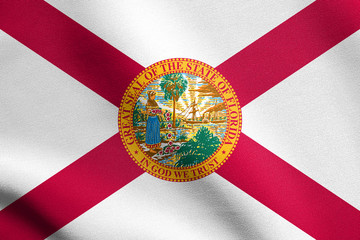 Flag of Florida waving with fabric texture