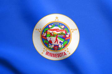 Flag of Minnesota waving with fabric texture