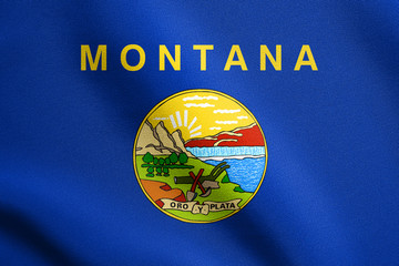 Flag of Montana waving with fabric texture