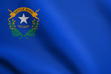 Flag of Nevada waving with fabric texture