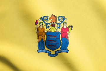 Flag of New Jersey waving with fabric texture