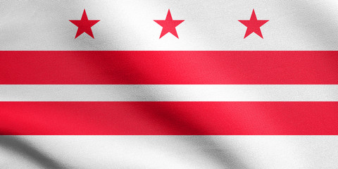 Flag of Washington, D.C. waving, fabric texture