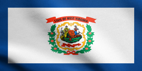 Flag of West Virginia waving with fabric texture
