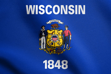Flag of Wisconsin waving with fabric texture