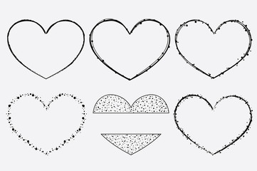 Hand drawn vector heart frames for brand identity and logo design isolated on background and easy to use