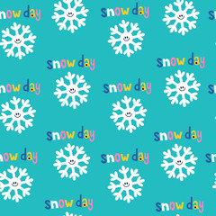 snow day snowflakes winter seamless pattern