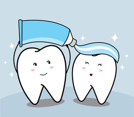 cute cartoon Smiling tooth and toothpaste