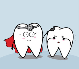 cute cartoon tooth super hero