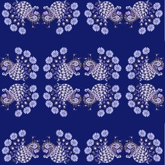 Perfect print for bed linen with peacock and daisies on dark blue background.