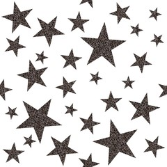 Seamless pattern with platinum stars on white background. Vector illustration.