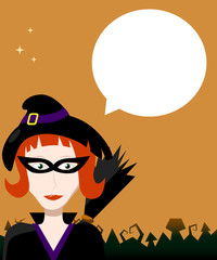 Halloween background with witch and text bubble.