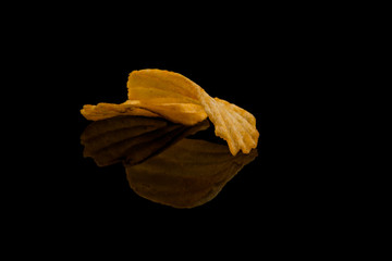 Potato chip on black surface