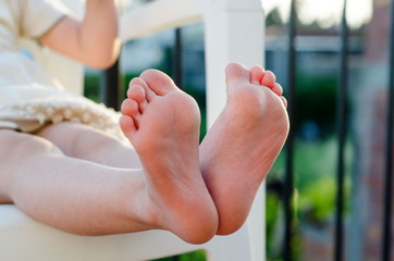 Closeup of little girls bare feet