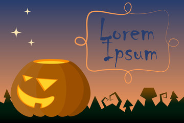 Halloween vector illustration with pumpkin and text place.