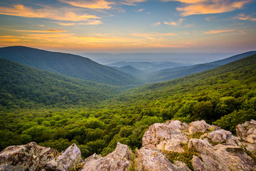 Sunset over the Shenandoah Valley and Blue Ridge Mountains from