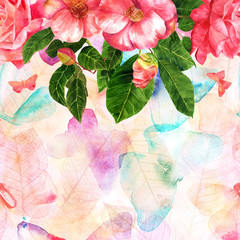 Watercolor rose and camellias bouquet with butterflies on pink