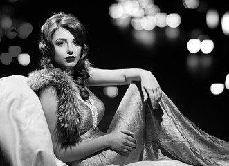 glamor fashion lady portrait. black and white Wall mural