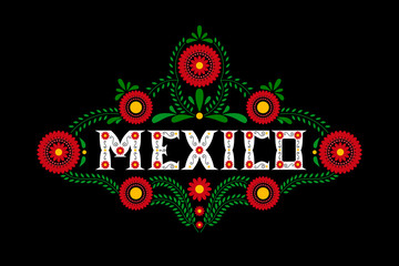 Mexico country decorative floral letters typography vector. Mexican flowers ornament on black background. Illustration concept for travel design, food label, tourism banner, card or flyer template.
