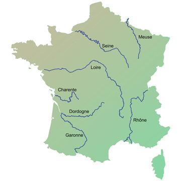 Carte de France : Principaux fleuves