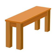 Wooden table isolated illustration