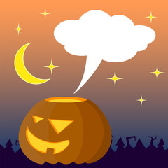 Halloween illustration with orange pumpkin and text place. Empty bubble cloud for greeting message