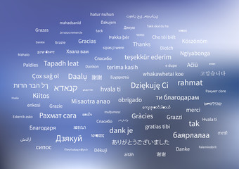 White thanks phrases in different languages of the world on blue background
