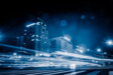 busy urban traffic,blue toned,shnaghai,china.