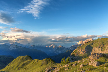 sunny summer day in the Alpine mountains