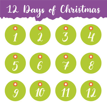 Hand drawn 12 days of Christmas holiday gift tags collection