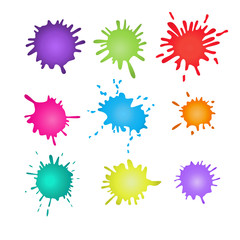 Colorful paint splatters. splashes set.Vector illustration.