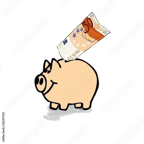 Schwein Sparschwein Mit 50 Euro Schein Illustation Zeichnung Comic