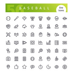 Baseball Line Icons Set