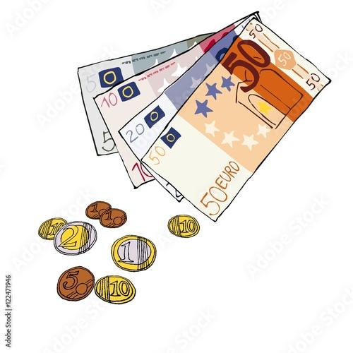 wechselgeld bargeld scheine m nzen euro comic von hand. Black Bedroom Furniture Sets. Home Design Ideas