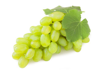 grapes with leaves. Isolated on white