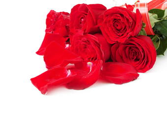Red roses with leaves bunch isolated on white background