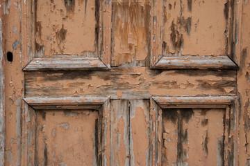 Wooden door, old lock, wood texture