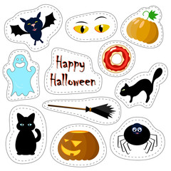 Halloween patches set on white background with black cat, broom, pumpkin