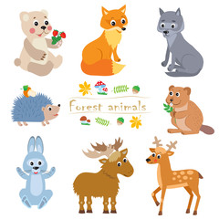 Cartoon Forest Animals Pack. Cute Animal Vector Set. Bear, Fox, Wolf, Hedgehog, Beaver, Moose, Hare, Deer. Forest Animals Toys. Forest Animals Party. Forest Animals Stickers. Forest Animals Baby.
