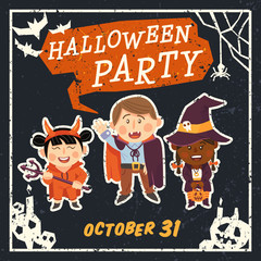 Grunge Halloween background with kids in Halloween costumes. Vector illustration.