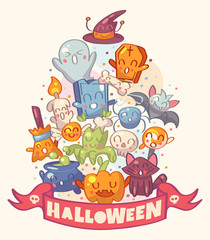 Halloween background with cute characters. Vector illustration.