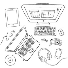 Vector sketchy gadgets set. Illustration with laptop, pc, keyboard, tablet, phone, camera, music streaming service isolated on white.