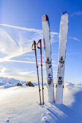 Fototapete - Ski in winter season, mountains and ski touring equipments on th