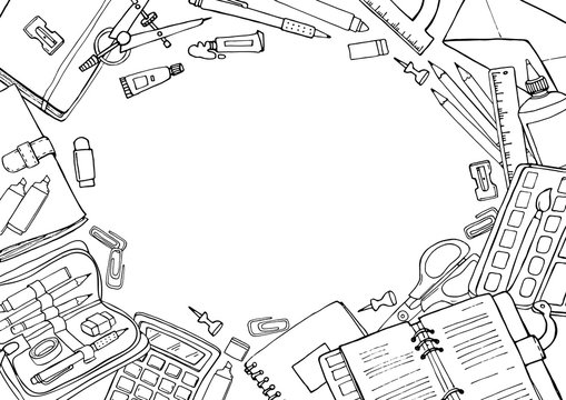 Vector sketch back to school background. Doodle illustration of stationery isolated over white with copyspace.