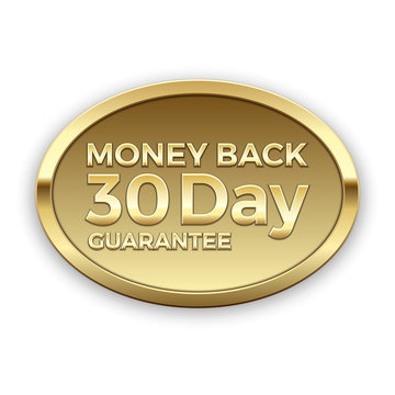 30 day money back guarantee golden badge, vector